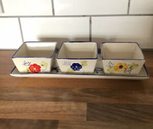 chip and dip bowl set flower design serving tray And Bowls New Condiment Dishes
