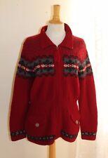 Ralph Lauren -Sz M Wool Nordic Red Artsy Hand-Knit Long Cardigan Sweater Jacket