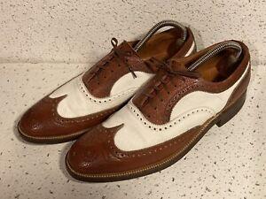FLORSHEIM 1950s WING TIP BROWN SPECTATOR DRESS SHOES 10 A