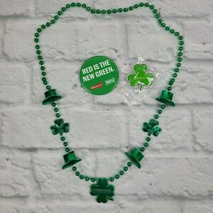 Budweiser St. Patrick's Day Beaded Necklaces, Light Up Pins And Metal Buttons