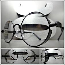 Men's Women VINTAGE RETRO BLINDER Style Clear Lens EYE GLASSES Round Black Frame