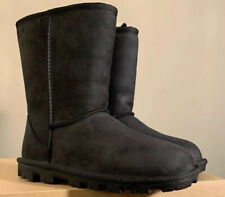 UGG Essential Short Black Water Resistant Leather Wool Women Boot SIZE 5 1111513