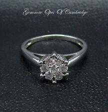18ct White Gold Diamond Daisy Cluster Ring Size K 2.9g Brilliant Cut 0.42ct