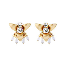 Gold Flying Honeybee Rhinestone Pave Stud Earrings Clear Resin Dangle Unique