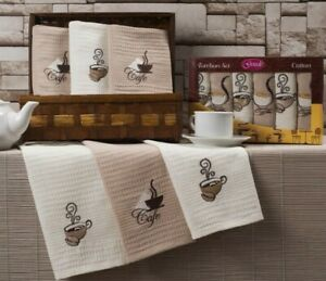 3 x 100% Cotton Tea Towels Embroided Printed coffee, purple design Large Size