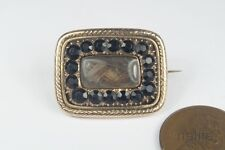 ANTIQUE ENGLISH GOLD & FRENCH JET MOURNING BROOCH w/ LT GEN FRENCH'S HAIR c1810
