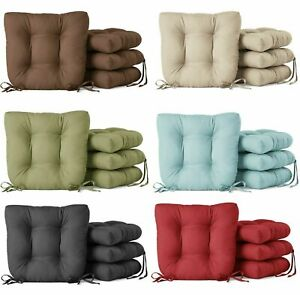 Faux Suede Seat Cushion Tufted Square with Ties Kitchen Dining Chair, Pack of 4