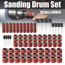 "102Pcs 80Grit Sanding Drum Sleeves Drum Mandrel 1/2'' 3/8'' 1/4"" For Rotary Tool"