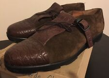 VINTAGE CESARE PACIOTTI PER BOTTICELLI SHOES DARK BROWN SUEDE AND LEATHER 6287