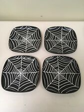 Set of 4 Pottery Barn Spider Web Black Appetizer Plates Halloween