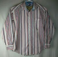Tommy Hilfiger | Shirt Men's Long Sleeve Striped Button Front XL Red White Blue