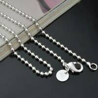 Women Men 925 Sterling Silver Solid 2.4mm Beads Chain Necklace Jewelry 16-30''
