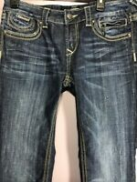 REROCK For Express Size 10 Jeans Denim Barely Boot Dark Wash Mid Rise XA45