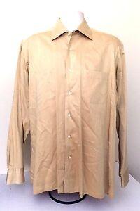 VTG Hugo Boss FITTED LS Shirt 100% COTTON HONG KONG MENS SIZE 16 34/35 FLAT GOLD
