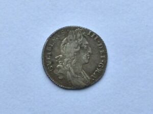 William III Solid Silver Sixpence 1696  Ref:Spink: 3520