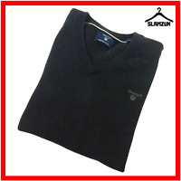 GANT Mens V Neck Premium Cotton Jumper Sweater M Medium Dark Grey Pullover