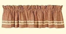 New Country Primitive Homespun Red Burgundy Check BERRY VINE Curtain Valance