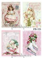 Shabby Chic Vintage Pink Christmas Santa Girl 4 Prints on Fabric Quilting FB 225