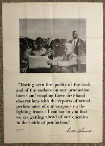 Vtg 1942 WWII Poster FDR Ahead Of Our Enemies In The Battle Of Production 29X40