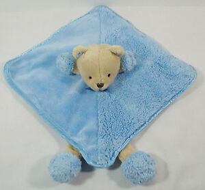 "Carters OS Tan Teddy Bear w/Feet Blue Lovey Security Blanket Rattle 12"""