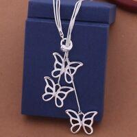 Statement Halskette 925 Sterlingsilber Collier Schmetterling Geschenk Elegant