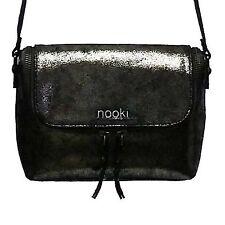 Nooki Designer Bolso Nicole Bolsa Lujo Cuero Genuino Craquelado Negro Metálico