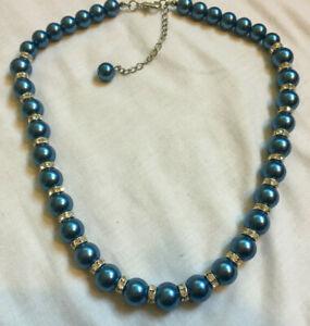 VINTAGE Faux Pearl Necklace Large Blue Pearls & Diamante #9