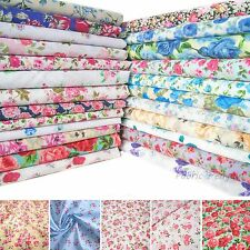 Roses Fabric Polycotton Vintage Pink Red Blue Grey Rose Faded By The Metre