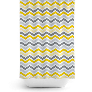 Extra Long Fabric Shower Curtain With Yellow & Grey ZigZag, 180 wide, 200cm drop