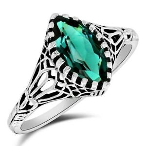 1CT Apatite 925 Solid Sterling Silver Filigree Ring Jewelry Sz 7, WF8