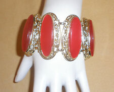 Big, Bold Cherry Red Thermoset Marquis Link Bracelet w/ Gold Tone Metal by Selro
