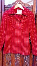 Monsoon Warm Winter Coat Jacket Size 8 Red with White Spots Great Condition