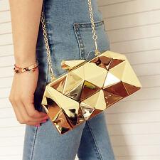 Designer 3d Dimensional Metal Hard Case Women Clutch Handbag Shoulder Bag Purse