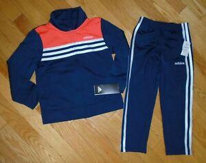 Adidas Boys Track Suit Athletic Pants Warm Up Jacket Blue Orange 5 5T NWT