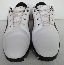 Men's NIKE ZOOM TROPHY White & Brown Leather Golf Shoes -- Size 9