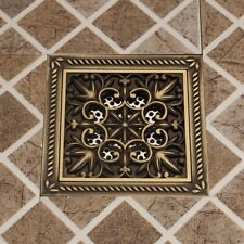 Antique Brass Bathroom Waste Water Floor Drain Shower Square Cover Floor Mounted