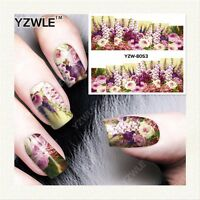 Nail Art Water Decals Stickers Transfers Purple Flowers Roses Gel Polish (8053)
