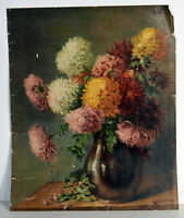 "13"" Antique Litho Print Fall Autumn Flowers In Vase Still Life Chrysanthemums"