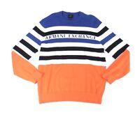 Armani Exchange Mens Sweater Orange Size Large L Crewneck Colorblock $90 358