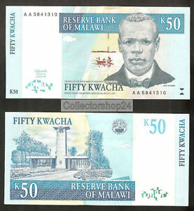 Malawi 50 Kwacha 1997 Unc Pn 39