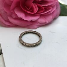 Antique Art Deco Size P eternity ring silver Diamond Paste