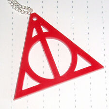 Mythical Object Wizard Deathly Hallow Logo Charm Necklace Red Large