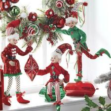 "NEW 2020 Raz 16"" Red and Green Sequined Posable Elf Christmas Figure 4002219"
