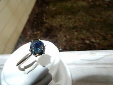 Custom 14k WG 1.62ct Round Cut Dark Blue/Green Moissanite ring-size 6 1/4