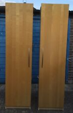 Twin wardrobes hanging rail shelving cupboards beech wood small bedroom office