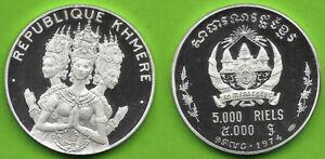 CAMBODIA , SILVER 5000 RIELS CAMBODIAN DANCERS 1974 - PROOF - TOP GRADE , RARE