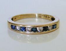 Beautiful 9ct Gold Sapphire & 0.15ct Diamond Eternity Ring Size N 1/2