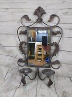 Vintage Distressed Metalic Mirror With Candle Holders Wall Sconce