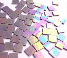 "110 Mosaic Tiles 1/2"" PURPLE PEARL OPAL Iridescent Stained Glass GORGEOUS!"