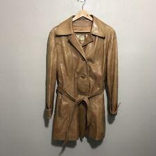 Vintage 70's Brown Leather Skin Gear Trenchcoat Jacket Butter Soft Belted Medium